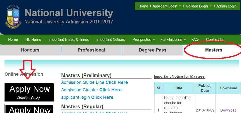 Masters 1st Year Admission