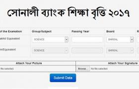 Sonali Bank Scholarship Application form