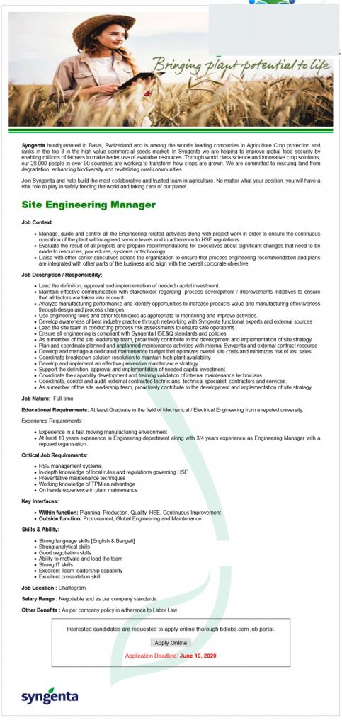 Syngenta Job Circular